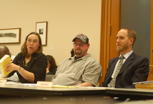 Logan Perkins, a law student at Lewis and Clark, with Frank Waterhouse (center), and his civil attorney, Benjamin Haile