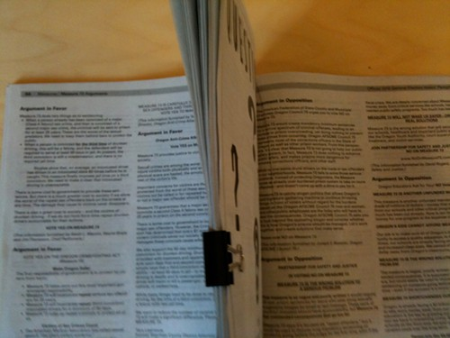 Measure 73 voters pamphlet: Yes and No separated by 72 pages.