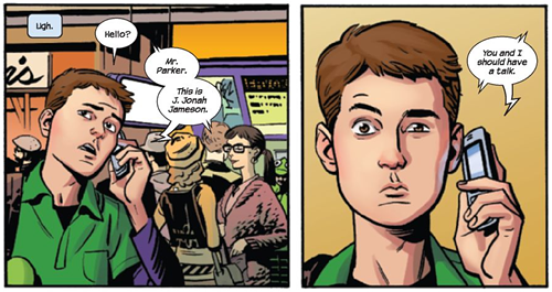 Peter Parker on the phone, by Brian Michael Bendis and Chris Samnee