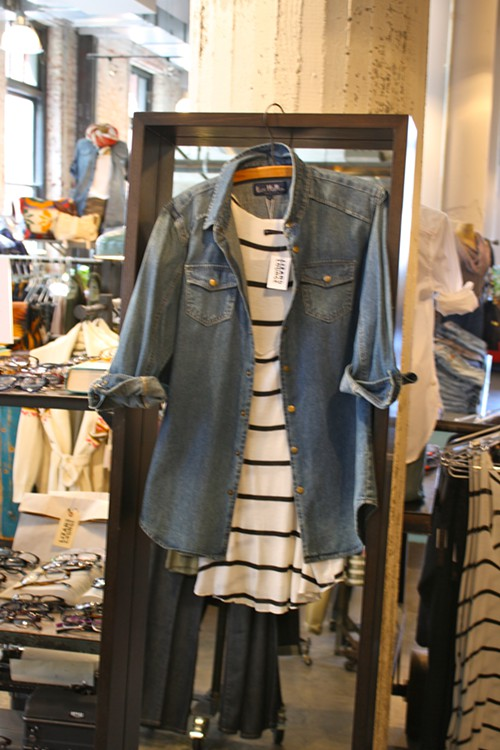 Les Halles Denim Top + Brandy Melville Stripe Dress