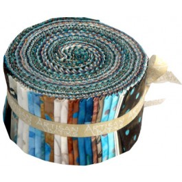 Artisan Batiks - Chocolate Aqua Roll-Up from Robert Kaufman Fabrics