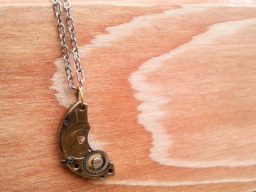 Crescent Moon Watch Part Necklace