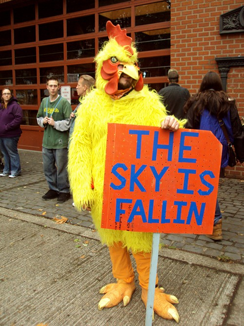 This guy was wearing this chicken suit for over 12 hours.