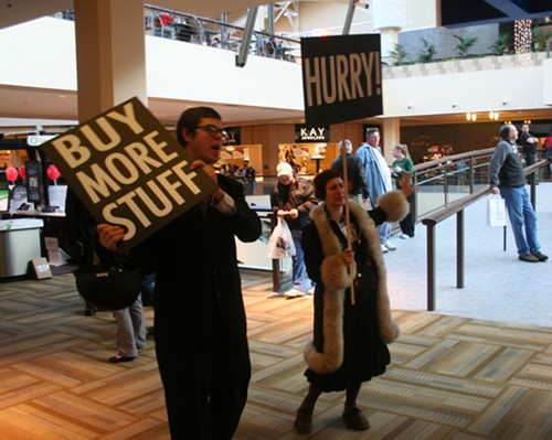 Buy More Stuff! Black Friday protest at the Lloyd Center mall.