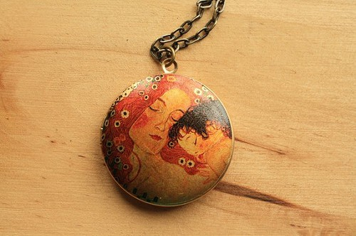 Mother and Child Locket, Gustav Klimt print