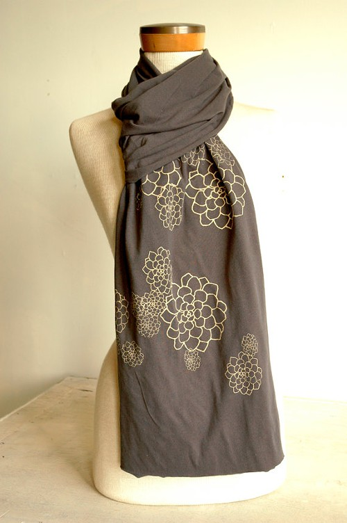 Slate Grey Jersey Scarf with Rosetta Print