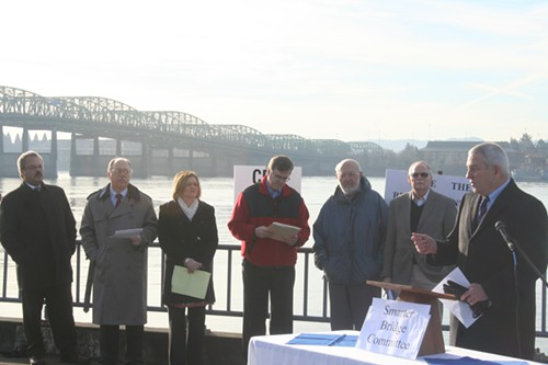 Plaid Pantry Prez Chris Girard pans the CRC, along with (from left) State Rep Lew Frederick, economist Joe Cortright, accountant Tiffany Couch, Cascade Policy Institutes John Charles, Rep Mitch Greenlick, and Metro Councilor Carl Hosticka
