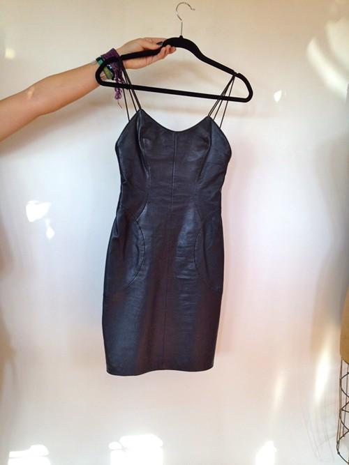 Slinky Body-Con Leather Dress