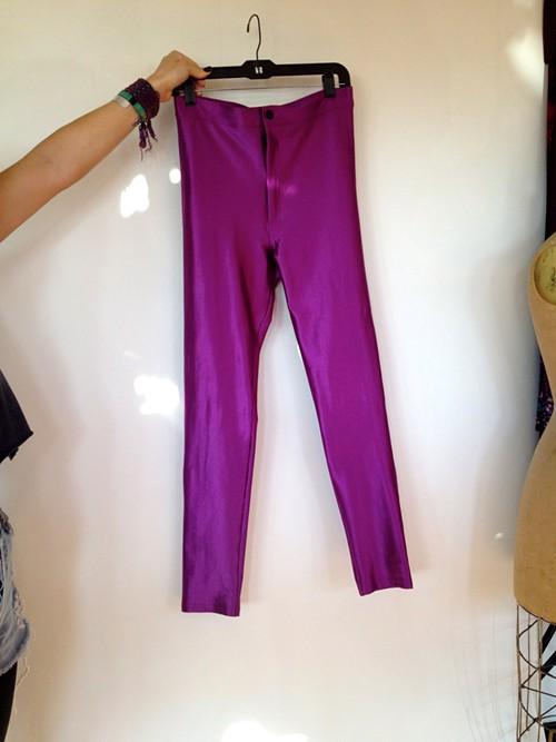 High-Waisted Purple Stretch Skinnies