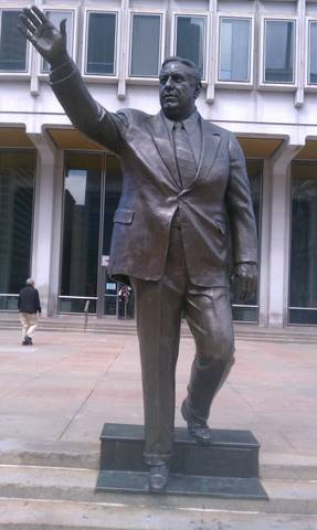 "Until 1936 everyone in Philly had to stand on a box, this statue commemorates the first person to say ""No sir, not me!"""