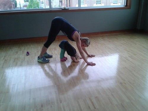 Kara and her Daughter Zoey Downward Dogging!