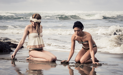 A lookbook image from LeAna Leos Leo Revolt swimwear-oriented line.
