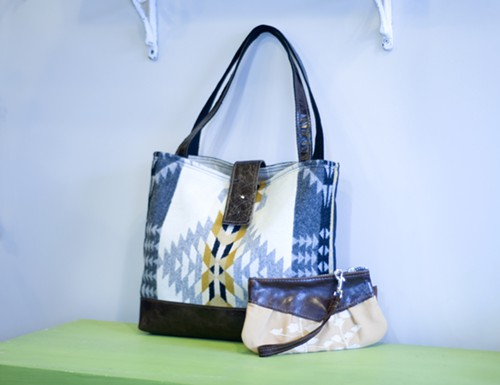 Appetite Pendleton bag and leather zip clutch