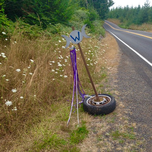 The sign of the triple goddess guiding the way to Goddess Camp.